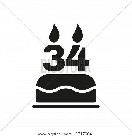 The birthday cake with candles in the form of number 34 icon. Birthday symbol. Flat