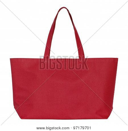 Red Fabric Bag Isolated On White With Clipping Path