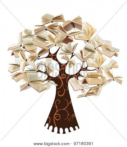Book tree isolated on white