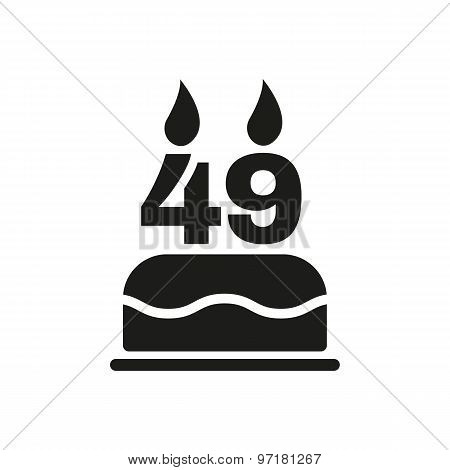 The birthday cake with candles in the form of number 49 icon. Birthday symbol. Flat