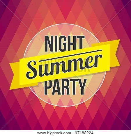 Summer Party Poster. Designed Text In The Background Polygon Style. Vector Template For Flyers, Post