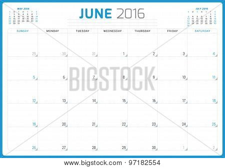 Calendar Planner 2016. Vector Design Template. June. Week Starts Sunday
