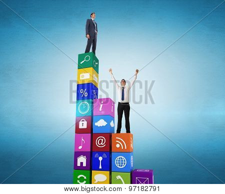 Businessman cheering against blue vignette background