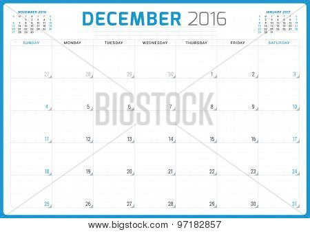 Calendar Planner 2016. Vector Design Template. December. Week Starts Sunday