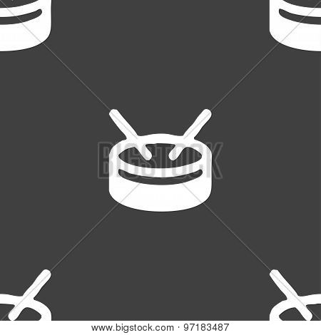 Drum Icon Sign. Seamless Pattern On A Gray Background. Vector