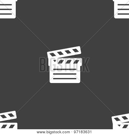 Cinema Clapper Icon Sign. Seamless Pattern On A Gray Background. Vector