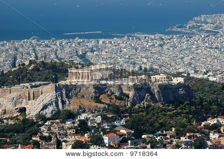 View Of Acropolis From Lykavittos Hill - Highest Point Of Athens City ,greece,balkans