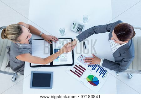 Businesswomen reaching an agreement in an office