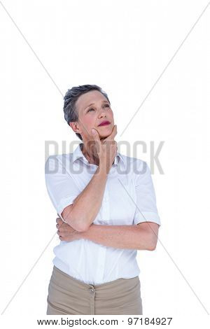 Thoughtful businesswoman looking away on white background