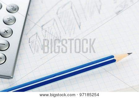 School and office supplies lying on table