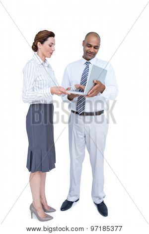 Business people using laptop on white background