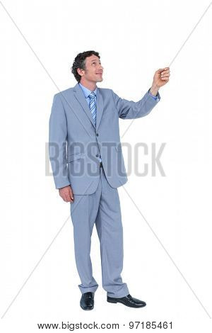 Businessman presenting with hand on white background