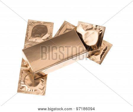 Golden condoms in box
