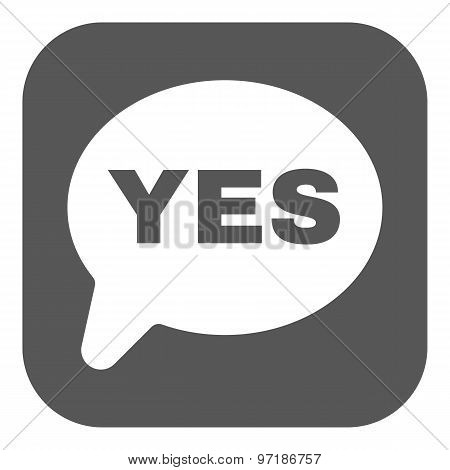 The YES speech bubble icon. Social network and web communicate symbol. Flat