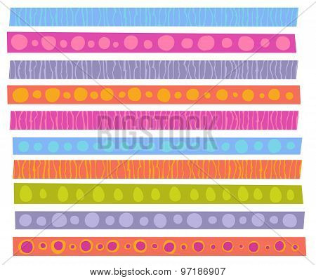 Decorative Patterns Collection In Cheerful Color Over White