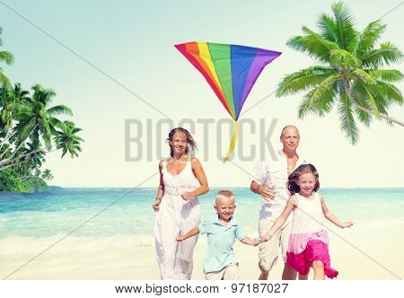 Family Beach Enjoyment Holiday Summer Concept