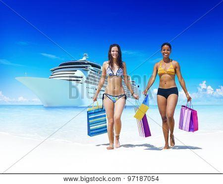 Women Bikini Shopping Bags Beach Summer Concept