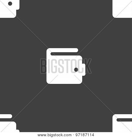 Purse Icon Sign. Seamless Pattern On A Gray Background. Vector