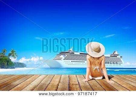 Woman Summer Beach Sunshine Vacation Concept