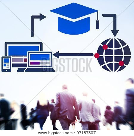 Learning Online Education Wireless Global Concept