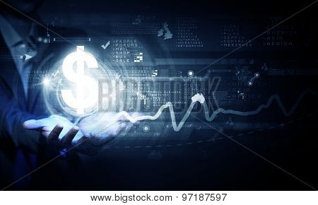 Close up of businesswoman hand holding digital dollar sign