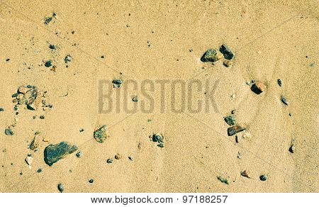 Close-up, Sand Beach And Stones