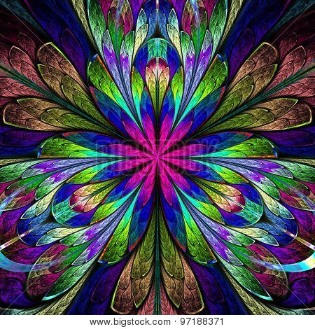 Multicolored Symmetrical Fractal Flower In Stained-glass Window Style. Computer  Graphics.
