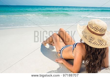 Rear view of pretty brunette looking at the ocean on a sunny day