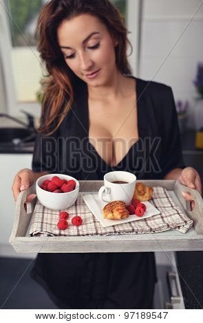 Breakfast In Bed - A Girl With A Coffee And A Croissant