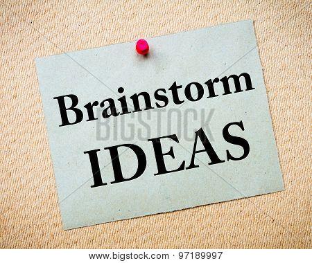 Brainstorm Ideas Message Written On Paper Note