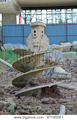 Bore Pile Rig auger at the construction site