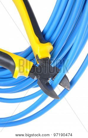 Tool pliers cutting blue cable