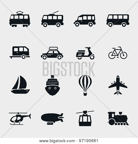 Vector monochrome transport and vehicle icons