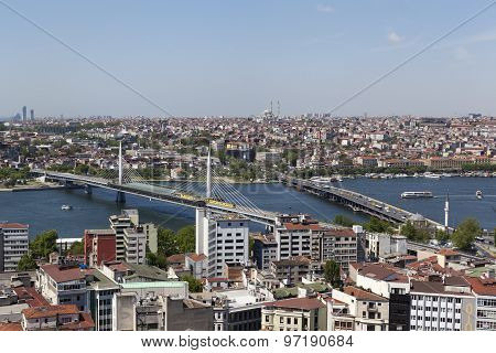 Turkey. Istanbul. View of the city center and the bridge across the Golden Horn from Galata Tower.