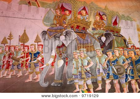 Mural Of Buddha' s Stories In Temple Of Wat Yang Ku, Roi-et, North-east Of Thailand