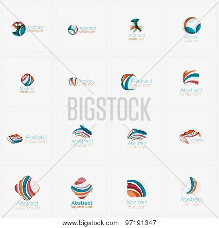 Set of light abstract geometric business company logos. Clean modern design of flowing elements. Illustration