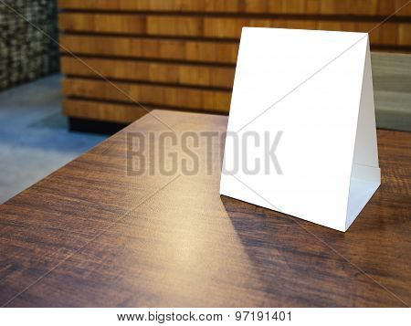 Mock Up Menu Frame Template On Table In Restaurant Cafe