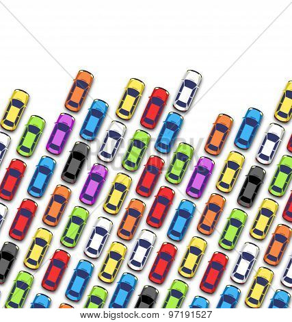 Traffic Jam On The Road With Cars Isolated On White