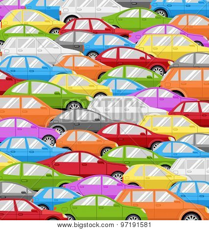 Traffic Jam With Cars. Road Background