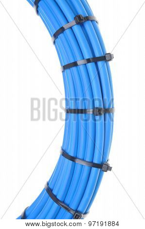 Blue network cable with cable ties