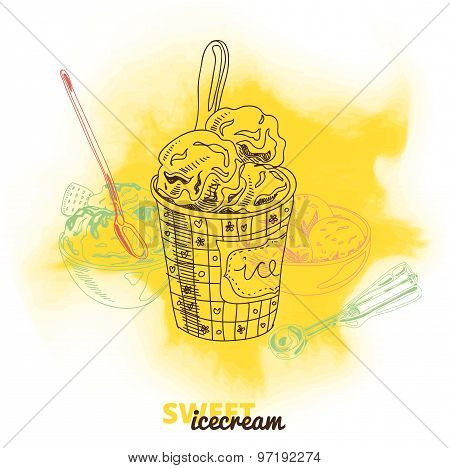 Hand drawn vector illustration with ice Cream.