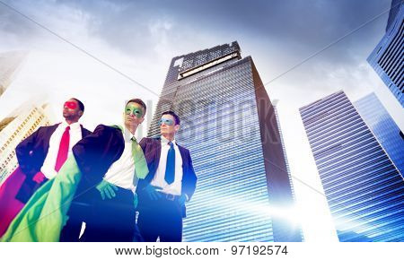 Superhero Business People Strength Cityscape Concept