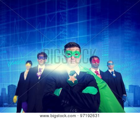 Superhero Business People Strength Cityscape Stock Exchange Concept