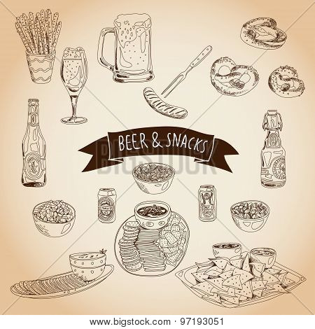 Hand drawn vector illustration. Beer and snacks set.