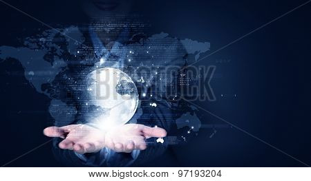 Close up of businesswoman presenting business media concept on palms