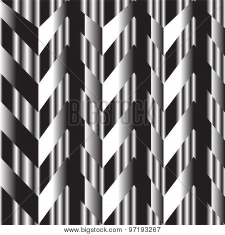 Black And White Zigzag Silver Background