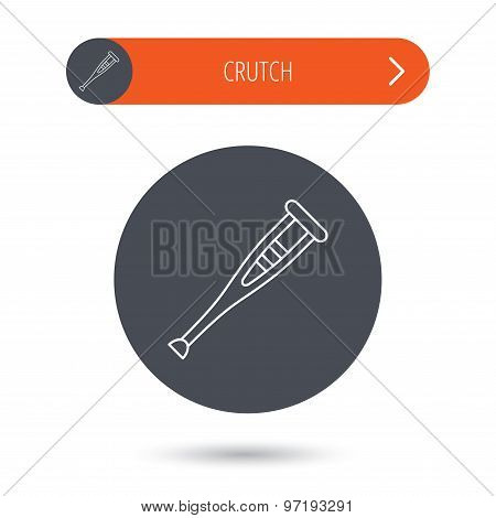 Crutch icon. Orthopedic therapy sign.