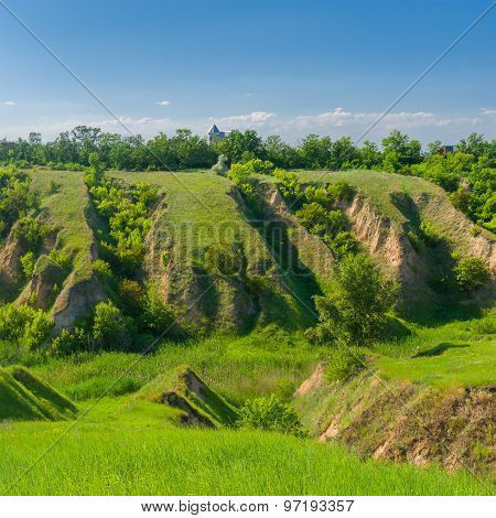 Landscape in central Ukraine with soil erosion