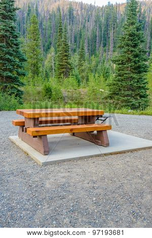 A picnic table in Manning Park, British Columbia, Canada.