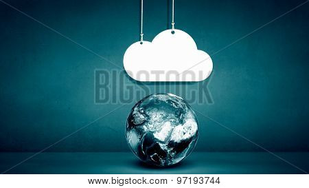 Computing concept with Earth planet and cloud. Elements of this image are furnishesd by NASA